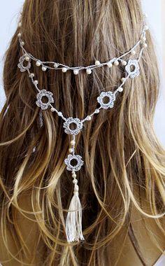 Crochet Headband and necklace hairband wedding pearl tassel hair accessories handmade Headband Crochet Headbands for Women gift ideas my shop: