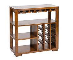 Botellero con estantes en madera de acacia - nogal