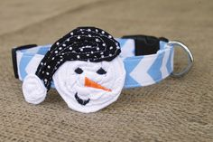 Snowman Dog Collar - Winter or Christmas - Blue Chevron with Snowman and Black Pin Dot Hat by kellimontgomery on Etsy https://www.etsy.com/transaction/1101392150