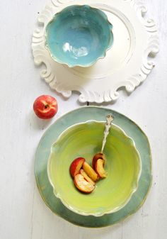 Flower Bowls and Platter ceramic serving set from Lee Wolfe Pottery - colors for bathroom.