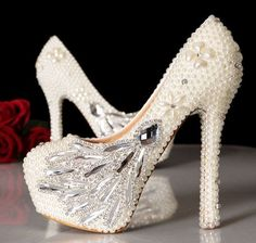 Unique wedding shoes cute bridal shoes bridal heels by sunyshoping, $168.00