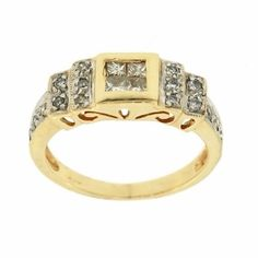 0.37 Cttw G VS Round Princess Cut Diamond Cocktail Ring in 14k Yellow Gold by GetDiamondsDirect on Etsy