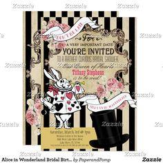 Alice in Wonderland Bridal Birthday Invitation