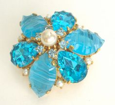 Brooch Aqua Crystal Rhinestone and Pearl Juliana Style Vintage. $32.50, via Etsy.
