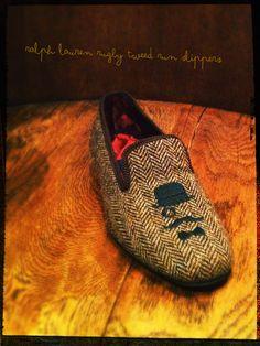Nice pair of Ralph Lauren tweed run slippers