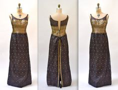 50s Vintage Evening Gown Medium Black Gold by Hookedonhoney