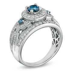 1.00 CT. T.W. Enhanced Blue and White Diamond Frame Engagement Ring in 14K White Gold - Peoples Jewellers