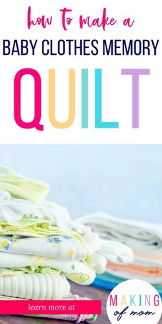 Want to make a quilt from baby clothes and preserve those precious memories and keepsake outfits? A simple rag quilt is a great way to do it! Learn how to make one here. Diy Baby Clothes Memory Quilt, Baby Memory Quilt, Used Baby Clothes, Memory Pillows, Baby Quilts, Memory Quilts, How To Sew Baby Blanket, Baby Memories, Memories