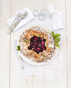 Nothing says celebrations like a visually sumptuous and fruity dessert, and this Berry Almond Galette recipe has Christmas decadence written all over it. Ground Almonds, Sliced Almonds, Short Pastry, Shortcrust Pastry, Fresh Mint Leaves, Tray Bakes, Berry, Homemade, Meals
