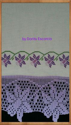 Bordado a ponto cruz com barra em crochet Crochet Lace, Shabby Chic, Cross Stitch, Embroidery, Blanket, Diy Crafts, Kandinsky, Primark, Crochet Stitches