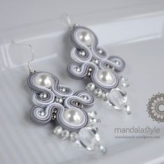 New Soutache Silver Earrings with Swarovski pearls and Rock Crystal pearl