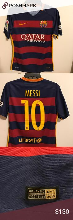 FC Barcelona Jersey Messi Jersey! Barcelona Jersey. Very nice 9/10 condition. Mens small. Authentic 100% from soccer.com fits me a bit small. Willing to negotiate on price. If you want more pictures let me know Nike Shirts Tees - Short Sleeve