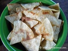 Homemade Tortilla Chips - I think you could make this healthier using whole grain tortillas and EVOO. ;)