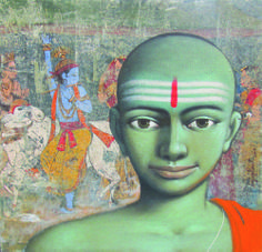 """On view at Pradarshak: """"Bal Bhikshuks"""" by Sanjay Raut Social Media: 20th Jan. – 1st Feb.'14: Pradarshak presents Solo Exhibition by Sanjay Raut. A young artist, who believes in reinventing his repertoire of innocent appeal and childlike character in his realistic thematic paintings.  http://www.gallerypradarshak.com/2014/01/on-view-at-pradarshak-bal-bhikshuks-by.html"""