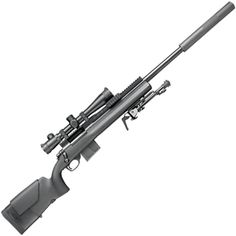U. S. Army M24A2 rifle, improvements are the rail mount, detachable box magazine, and suppressor.
