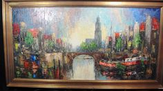 """Original Signed """"Helm"""" Oil Painting Canal City Scene 