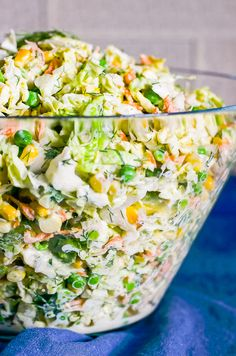 Savoy Cabbage Salad Recipe is easy, creamy and fresh savoy cabbage slaw with carrots, peas, corn, avocado and healthy Ranch dressing with no mayo. | ifoodreal.com