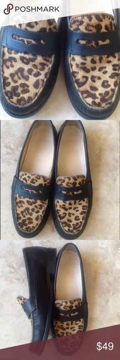 Cole Hann Animal Print Loafers Omg...these cute shoes with your favorite blue jeans this fall....black leather with faux animal print. Heel hight is 3/4 inch. Classic.... Cole Haan Shoes Flats & Loafers