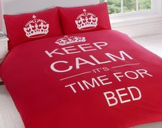 Keep Calm Red Duvet Cover Set from Yorkshire Linen.  Love this!