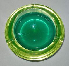 MURANO Geode ASHTRAY Glass BOWL Modern MID CENTURY Uranium GLOWS in BLACKLIGHT