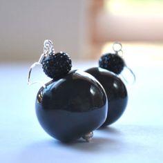 Black Hollow Glass Earrings