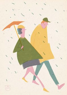 Barbara Dziadosz Illustration Two people walking in the rain with a rather small umbrella Umbrella Wreath, Umbrella Decorations, Rain Illustration, Cut Paper Illustration, Showers Of Blessing, Small Umbrella, Hand Embroidery Projects, Walking In The Rain, Art For Art Sake