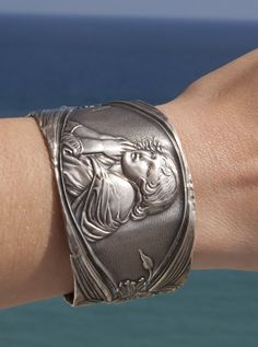 Victorian Art Nouveau solid sterling silver .925 cuff by CelebLuxe