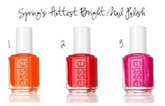 1. Essie Orange Its Obvious – SO FUN! Orange is my favvvv color. My next purchase.     2. Essie Ole Caliente – Just bought this one at Target!  Crazy hot! A salsa orangy coral pink red!     3. Essie Tour de Finance –  I <3 hot pink polish and this has just the right amount of shimmer to really stand out.