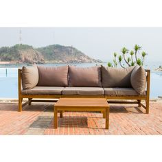 Safavieh Outdoor Living Lynwood Brown Acacia Wood 4-piece Taupe Cushion Sectional Set | Overstock.com Shopping - The Best Deals on Sofas, Chairs & Sectionals