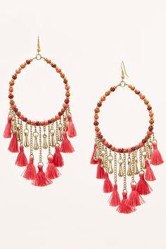 Trending Accessories   Women's Bright Pink Beaded Tassel Earrings by Boston Proper.