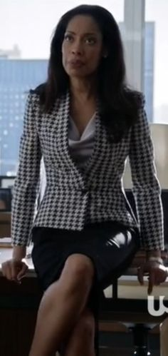 Houndstooth on top, black on bottom. Suits don't have to be a matching set