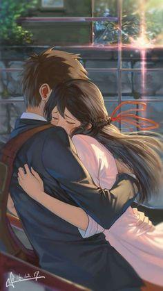 Kimi no Na wa. La mejor pelicula❤, Kimi no Na wa. La mejor pelicula❤ Kimi no Na wa. Anime Love Couple, Manga Couple, Cute Anime Couples, I Love Anime, Me Me Me Anime, Anime Couples Hugging, Manga Love, Couple Art, Cosplay Anime
