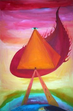 Piramide de fuego, acrylic on canvas, 95 x 63 cm. year 2007 .Painting of the Serie Simbolism for sale by artist Diego Manuel