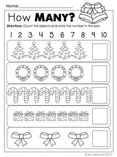 Your kids can practice number recognition with dot-to-dot worksheets, write a letter to Santa, and do Christmas picture math. These worksheets are a good way . Christmas Worksheets, Christmas Math, Preschool Christmas, Christmas Themes, Preschool Worksheets, Preschool Learning, Kindergarten Worksheets, Preschool Activities, Teaching