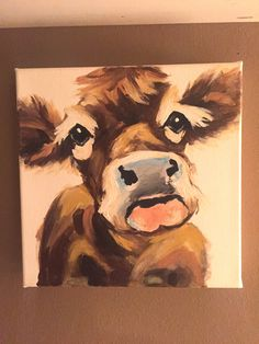 adorable cow painting on inch canvas. acrylic painting on canvas. Farmhouse Paintings, Farm Paintings, Cute Paintings, Cow Paintings On Canvas, Colorful Animal Paintings, Classic Paintings, Acrylic Painting Canvas, Canvas Art, Painted Canvas
