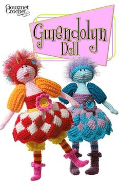 Crochet dolls aren't just for play toys. Make the Gwendolyn Doll Pattern as a fun decoration for your office or craft room. Gwendolyn is pure whimsy with her striped legs, entrelac skirt, fuzzy hair and pointy boots. She is the first in my new series of artistic, creative dolls from this company. Unusual crochet dolls give a sense of empowerment and happiness while crocheting them, and every time you glance her way while she is on display. Make her for a special friend, a daughter, a m