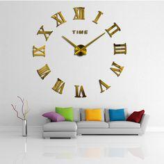 2017 new arrival 3d big wall clock home decor quartz  diy horloge wall watch stickers living room Acrylic mirror 20 inch clocks