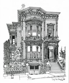 San Francisco Victorian by Ira Shander This stately Victorian is located in San Francisco at 819 Eddy Street. It fortunately survived both the earthquake and fire of April Currently occupied by law offices, it has been lovingly restored. Dream House Drawing, House Sketch, Victorian Architecture, Classical Architecture, San Francisco Houses, San Francisco Architecture, Building Drawing, Architecture Drawings, Urban Sketching