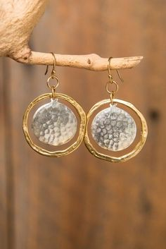 Similar items such as mixed metal hammered gold hoop with hammered silver or gold disc earrings on Etsy rnrnSource by Mixed Metal Jewelry, Copper Jewelry, Wire Jewelry, Craft Jewelry, Beaded Earrings, Earrings Handmade, Silver Earrings, Silver Ring, Handmade Jewellery