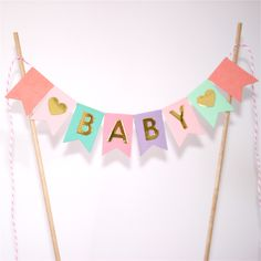Bunting Cake Topper - Pinks, Mint, Turquise, Lavender Pastels - Baby Shower Space Baby Shower, Baby Boy Shower, Baby Cake Topper, Cake Toppers, Girl Baby Shower Decorations, Pink Decorations, Baby Shower Cakes, Baby Shower Parties, Lavender Baby Showers