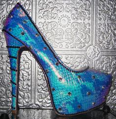 hologram snake platform stilettos with crystal by STEAMHATTER, $100.00