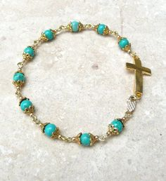 Genuine Turquoise Antique Gold P Sideways Cross Rosary Bracelet