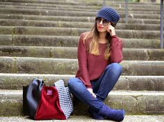 look bordeaux e blu - burgundy and blue outfit - fashion blogger - ootd - ugg