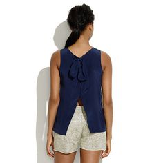 Silk Bow-Back Tank - in lilac or navy.  Easy and chic.