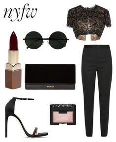 """""""Untitled #180"""" by lacywoods ❤ liked on Polyvore featuring Dolce&Gabbana, Emilio Pucci, Stuart Weitzman, NARS Cosmetics, Balmain and Fashion Fair"""