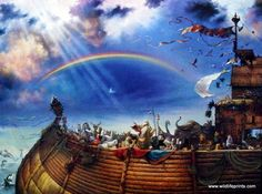 """All the animals, aboard Noah's Ark, are promised that the dark clouds are behind them and ahead lies safety. This print is available unframed in size 12""""x9"""""""
