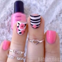 Need some nail art inspiration? browse these beautiful nail art designs and get inspired! Cute Pink Nails, Pink Nail Art, Cute Nail Art, Pretty Nails, Nail Design Rosa, Pink Nail Designs, Get Nails, Hair And Nails, Nail Design Glitter