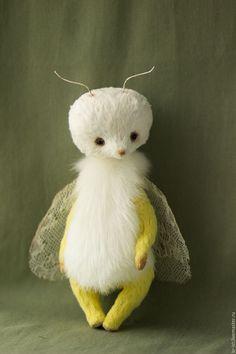 Купить Моль - белый, желтый, зеленый, моль, мотылек, бабочка, тедди, коллекционная игрушка