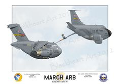 Here is a special print I put together that showcases the Aircraft of the 452nd Air Mobility Wing based at March ARB. The C-17A and a KC-135R.