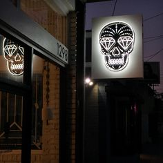 our new neon logo sign at ESQUELETO los angeles